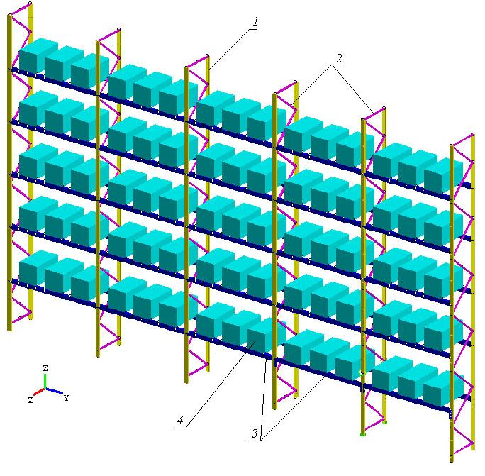 Исследование устойчивости складских стеллажей при динамическом воздействии