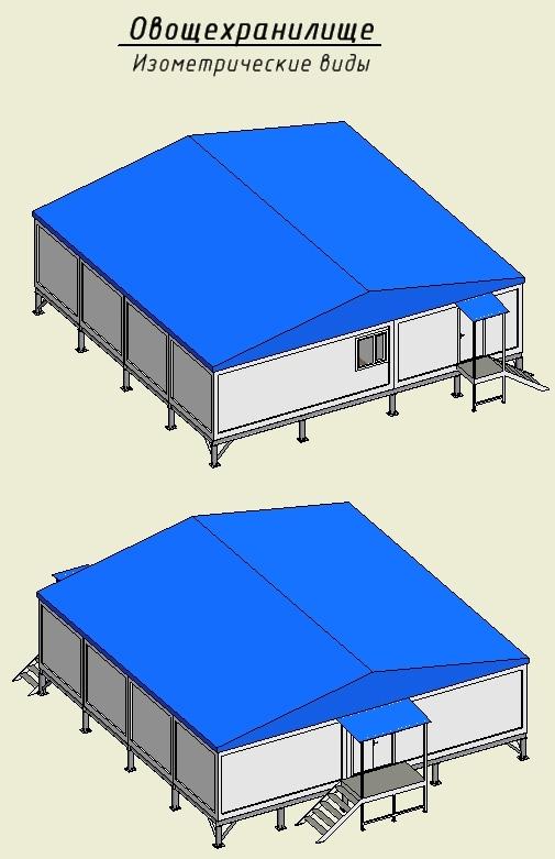 Проект овощехранилища (овощного склада) из блок-модулей 12 х 12 x 2,8 м