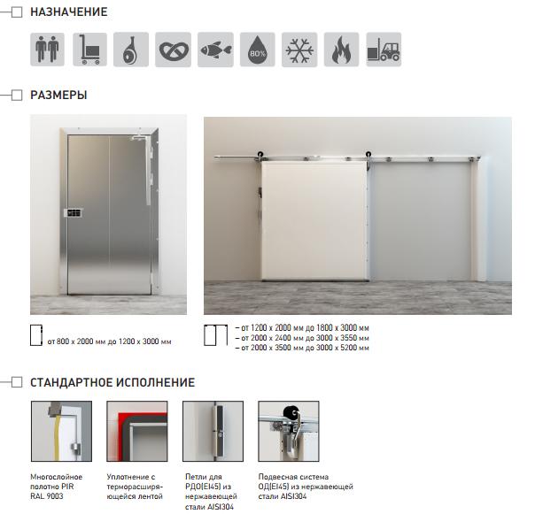 Противопожарные распашные холодильные двери ИРБИС (EI45)