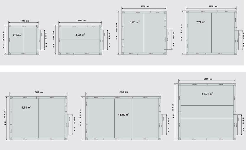 Наиболее востребованные модели среднетемпературных камер (толщина панелей 80 мм) из ассортимента холодильных камер POLAIR