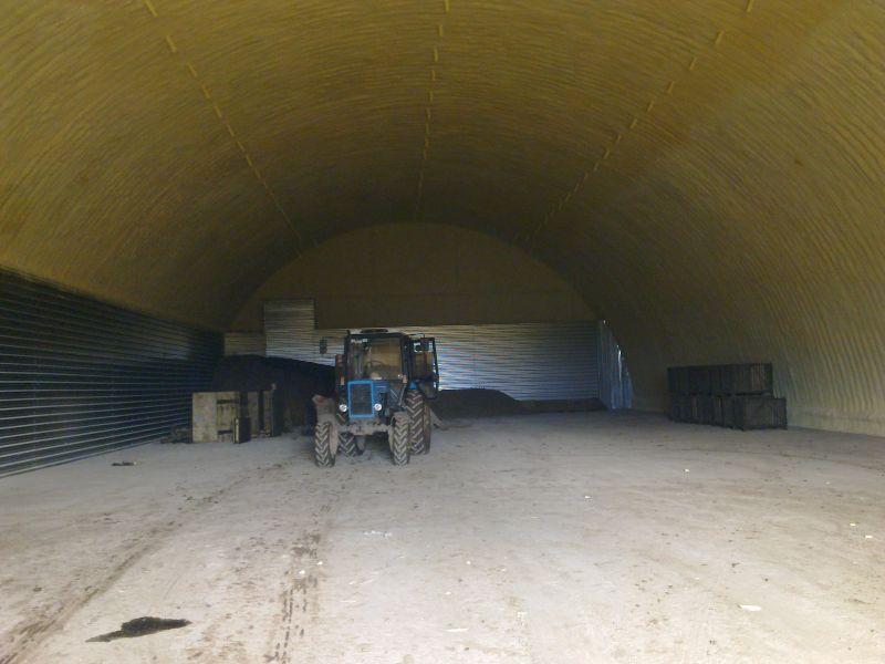 готовое картофелехранилище по типовому проекту на 2000 тонн (вид изнутри)