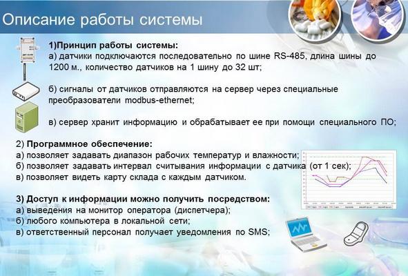 Принцип работы Системы постоянного мониторинга температуры и влажности фармацевтического склада