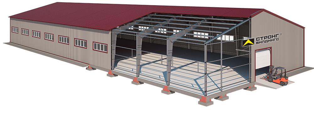 Типовой проект склада из ЛМК на 1200 кв.м