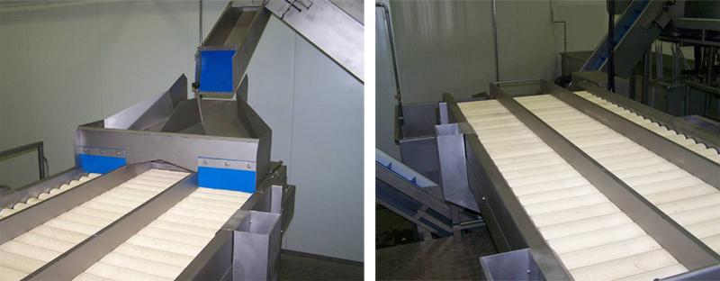 3 секции инспекционного стола. Инспекция по краям ; выбраковка в середину.
